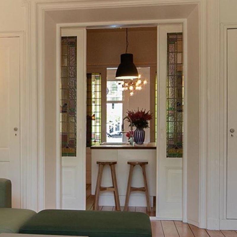 onderlopende schuifdeuren keuken glas in lood