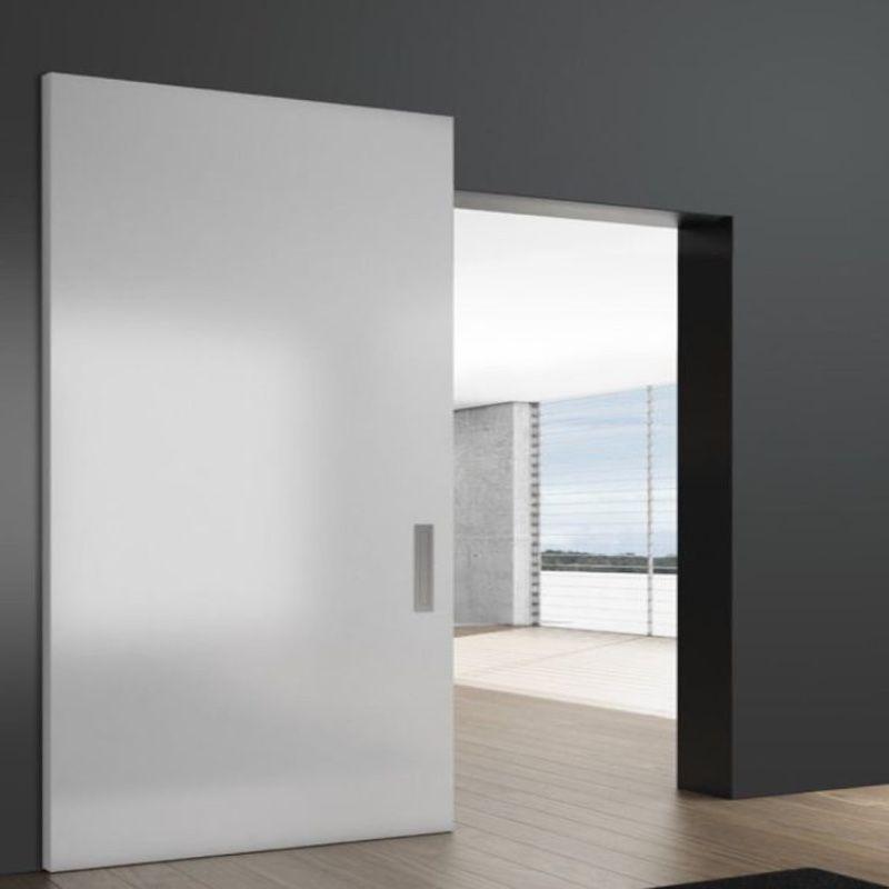 schuifdeur onzichtbaar wit design woonkamer houten vloer