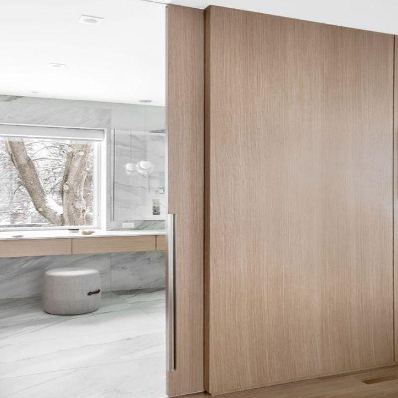 design schuifdeur plafondhoog hout eiken