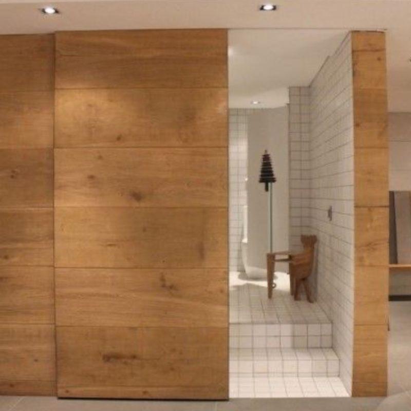 schuifdeur eiken plafondhoog badkamer