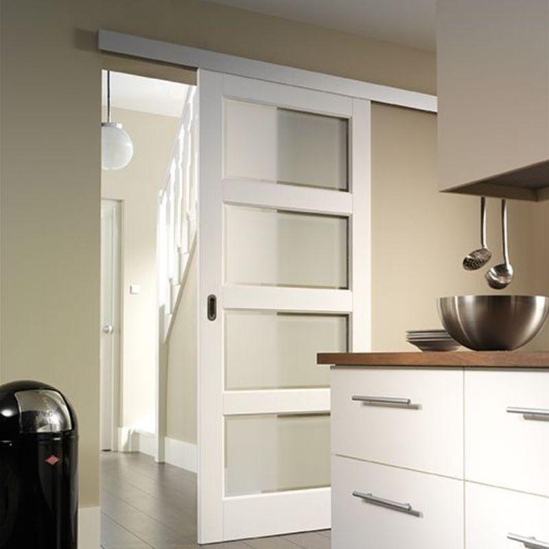 schuifdeur keuken wit voor wand